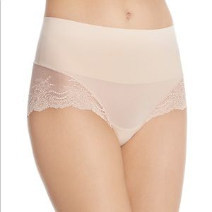 Lot of 2 SPANX Skinny Britches hipster sheer cheeky pure pink M Shaper Brief NWT